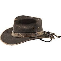 74080ca0a77 Hit the trail in this rugged hat with a lightly distressed wax cotton look  combined with