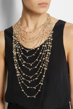 Rosantica - Divina Amore gold-dipped freshwater pearl multi-strand necklace