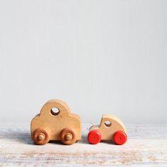 Vintage Pair Wood Toy Cars / Wood Toy, Natural Nursery, Waldorf, Montessori