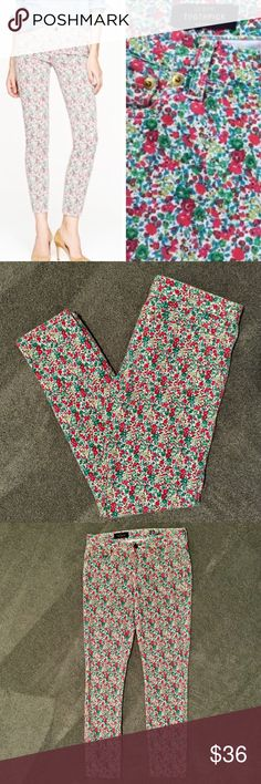 """J. Crew Liberty Floral Toothpick Jeans J. Crew floral pattern toothpick jeans - size 27 tall. 30"""" inseam. Colorful floral """"Emma and Georgina"""" print from London's Liberty Art Fabrics. NWOT - never worn and in perfect condition. J. Crew Pants"""