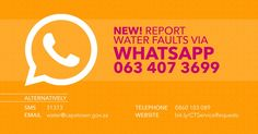 """City of Cape Town on Twitter: """"To make it easier to #ThinkWaterCT we've set up a dedicated WhatsApp line to report water leaks https://t.co/RwEUxAYBmi #CTInfo https://t.co/VLXkMkbBIa"""""""