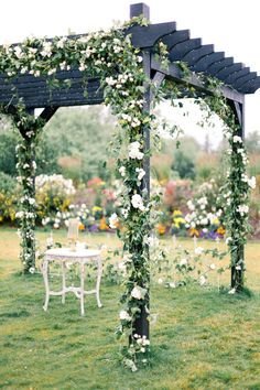Outdoor wedding ceremony pergola adorned in beautiful floral and greenery Wedding Ceremony Ideas, Ceremony Arch, Wedding Ceremonies, Outdoor Ceremony, Backdrop Wedding, Outdoor Weddings, Garden Wedding, Dream Wedding, Wedding Pergola