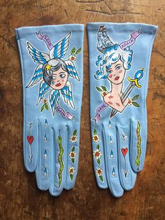 Hand painted gloves, women's size baby blue Italian leather, one of a kind… Lace Gloves, Leather Gloves, Vintage Gloves, Quirky Fashion, Painting Leather, Diy Clothing, Mitten Gloves, Wearable Art, Tattoos For Women