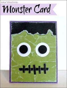 handmade Halloween card ... green monster face fills the card ... paper piecing ... like the wrinkled and sanded Coordinations paper panel ...