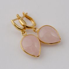 earrings with pink quartz