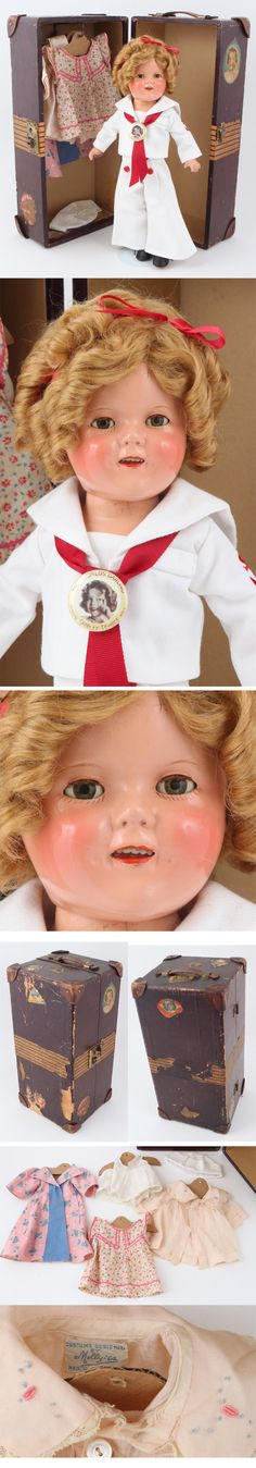 "Shirley Temple Doll - Composition - 16"" - Trunk and collectibles"