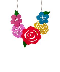 Mexican Flower Statement Necklace - Take inspiration from artist Frida Kahlo with the Mexican Flower Statement Necklace. Paper flowers are recreated in vibrant shades of acrylic, detailed with laser cut outs and hand linked to a silver tone chain. Style with print and pattern, or layer over a plain dress and let this colourful necklace shine.