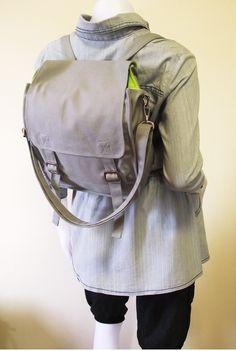 Canvas messenger bag / 14 oz. gray canvas / shoulder bag / backpack / Jane