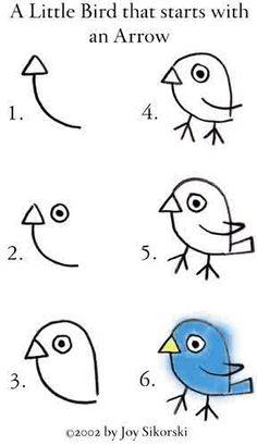 How to draw a bird using an arrow