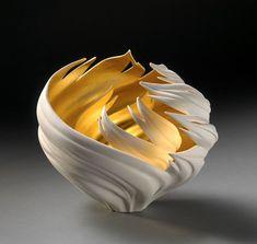 Jennifer McCurdy Gilded Wing Nest Vase Sculpture