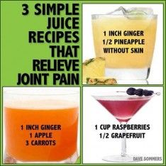 Juices that help relieve Joint Pain Say bye bye to joint and any inflammation pain by making any of these 3 juices. They contain lots of vitamins and minerals that help fight and relieve the causes of pain. Don't forget to click SHARE Easy Juice Recipes, Juicer Recipes, Simple Recipes, Blender Recipes, Amazing Recipes, Healthy Juices, Healthy Drinks, Healthy Smoothies, Detox Drinks