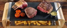Steak Stones - Mixed Grill anyone? Rack of Lamb, Fillet Steak and a lump of Rib-Eye on our new Sharing Platter