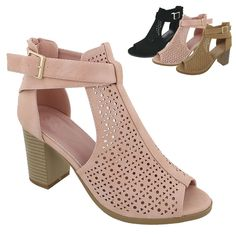 New Women Gladiator Peep Toe Ankle Strap Cut Out Chunky Heel Sandals Shoes Gold High Heel Sandals, Wedge Sandals, Leather Sandals, Shoes Sandals, Bohemian Sandals, Chelsea Ankle Boots, Types Of Shoes, Summer Shoes, Chunky Heels
