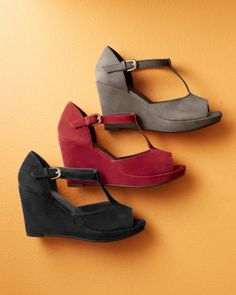 Annalisa T-Strap Wedge Sandals in red suede ($168) from Garnet Hill