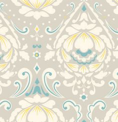 Taza- Medallion in Gray by Dena Designs - Fabric yard Cotton Quilt Fabric Teal Yellow, Yellow Fabric, Grey Fabric, Color Patterns, Color Schemes, Pretty Patterns, Duvet, Free Spirit Fabrics, Dena