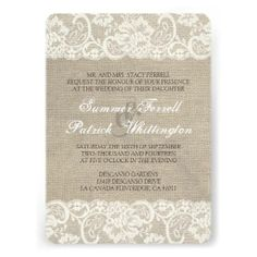 Lace Look Rustic Burlap Wedding Invitation