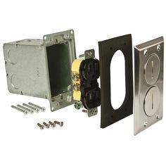 raco singlegang floor box kit nickel finish with 2 threaded plugs 15a