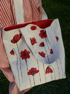 Hand Painted Tote Shopper Bag Poppies on White by JoFiArtCreations, $85.00