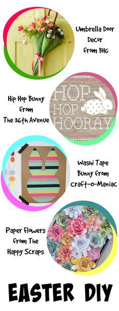 "This fun collection of DIY Spring & Easter Decor includes super-cute bunny napkins, a gorgeous Spring hydrangea wreath, an adorable ""hip hop"" bunny, a clever umbrella door decoration, and more!"