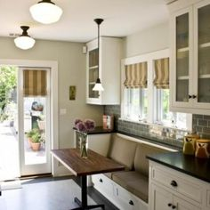 No room for a table and chairs in your kitchen?  Use a built-in bench and narrow…
