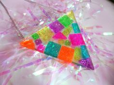 Mosaic Rainbow Geometric Glitter Tile Triangle Resin Neon Necklace Pendant Statement Kawaii Kitsch Jelly Mosaic Rainbow Glitter Tile Triangle Resin Neon by CandyShockUK Pendant Necklace, Glitter Tiles, Clear Casting Resin, Mosaic Pieces, Kawaii Jewelry, Geometric Tiles, Kitsch, Jewelry Collection, Accessories