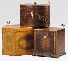 Lovely trio including a George III burr yew wood veneered tea caddy, late 18th century from Christies