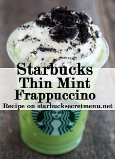 Starbucks Thin Mint Frappuccino Ok everyone, you HAVE to try this. I got it and it was amazing. Get a Tazo Green Tea Creme Frap, add Java chips, 1 pump of mocha, and of peppermint. It sounds disgusting but it tastes like happiness! The person taking Cafeteria Menu, Starbucks Secret Menu Drinks, Starbucks Drinks Without Coffee, Coffee Drinks, Yummy Drinks, Yummy Food, Thin Mint Cookies, Thin Mints, Puddings