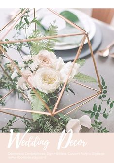 The combination of the structured Geometric Sphere by Modlode with the soft florals and botanical greens is an upcoming trend for Spring Wedding Trends, Wedding Ideas, 21st Bday Ideas, Table Centerpieces, Table Decorations, Special Events, Florals, Dream Wedding, Gift Wrapping