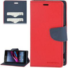 Sony Xperia Z1 flip case, hoesje, cover, frontje rood