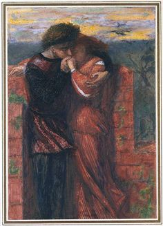 Carlisle Wall (The Lovers): 1853 by Dante Gabriel Rossetti  (Tate Britain - London) - Pre-Raphaelite Brotherhood
