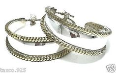 VINTAGE-LATON-TAXCO-MEXICAN-925-STERLING-SILVER-ROPED-BRASS-HOOP-EARRINGS-MEXICO
