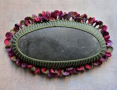 Art Mixed Media Crochet Lace Stone Original Handmade by Monicaj