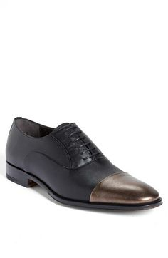 Bruno Magli 'Momalo' Cap Toe Oxford available at #Nordstrom. Over the past years metallic has gained popularity especially in accessories. The bronze tip to these men's shoes adds a little something extra to this basic Oxford shoe. Jaden J