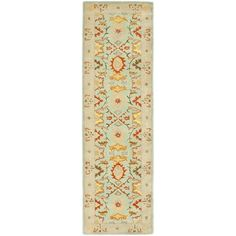 @Overstock - An intricate Oriental design and dense, thick pile highlight this handmade rug. This floor rug has a light blue background and an ivory border and displays stunning panel colors of green, gold, rust, blue and ivory.http://www.overstock.com/Home-Garden/Handmade-Kerman-Navy-Gold-Wool-Rug-23-x-12/6345327/product.html?CID=214117 $114.67