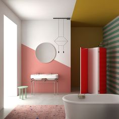 diagonal two toned bathroom wall
