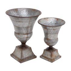 Woodland Imports 20268 The Nostalgic Metal Urns (set of 2) | ATG Stores