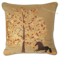 Fall Frolic Horse Pillow - Indoor/Outdoor Pillows - Equestrian - Pillows - Equestrian at Horse and Hound Gallery