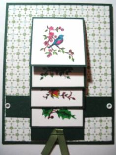 Seasonal Birds Waterfall Card Part 1 by - Cards and Paper Crafts at Splitcoaststampers Fancy Fold Cards, Folded Cards, Gift Cards, Greeting Cards, Waterfall Cards, Card Making Templates, Handmade Card Making, Beautiful Handmade Cards, Homemade Cards
