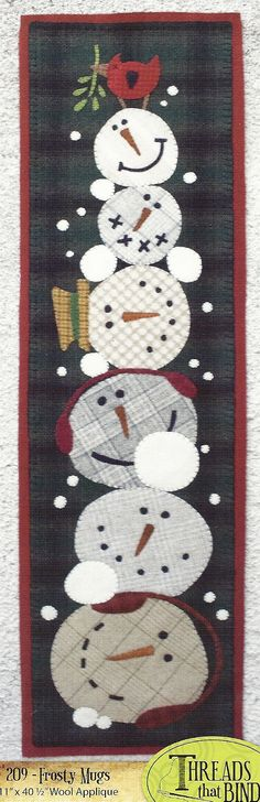 Primitive Folk Art Wool Applique Pattern  Table Runner?