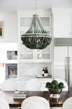 The Dira Ombre Crested Crane Chandelier - Contemporary Traditional Transitional Organic Chandeliers - Dering Hall Dining Room Furniture, Furniture Decor, Beaded Chandelier, Chandeliers, Contemporary Furniture, Green And Grey, Home Furnishings, New Homes, Ceiling Lights