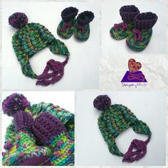 Completed custom order this week, this adorable toddler sized hat and bootie set. These can be made to order from a large variety of hat pattern I have in my library, and the booties can also include felt soles!
