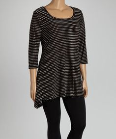 Another great find on #zulily! Black Polka Dot Sidetail Tunic - Plus #zulilyfinds
