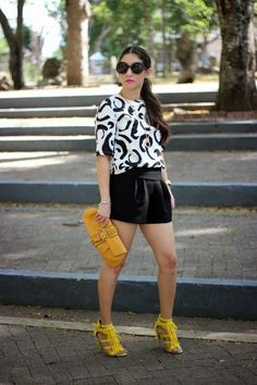 Black and White with pop of yellow