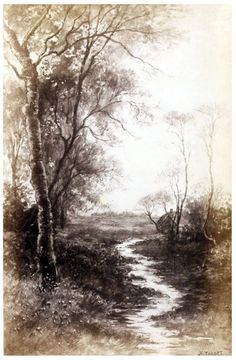 The brook that loves  To dimple in the dark of rushy coves, Drawing into its narrow earthen urn.  J. H. Tarbet, from Landscape illustrations to the poems of Alfred lord Tennyson, Boston, 1892.  (Source: archive.org.)