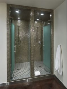 Bathroom Design Ideas including Double Shower with Glass Tiles-Home and Garden Design Ideas