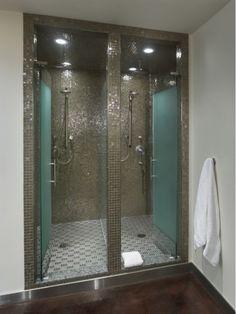 Bathroom Design Ideas including Double Shower with Glass Tiles-Home and Garden Design Ideas