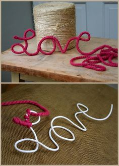 Wire and yarn. Awesome idea! Looks super easy.
