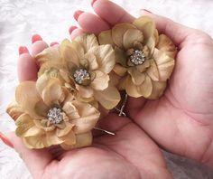 Champagne Wedding Hair Flowers -  Rhinestone Center-  Alligator Clip or Bobby Pins - RALEIGH - Set of 3 -
