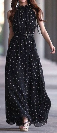 Women's fashion | Polka dots maxi dress
