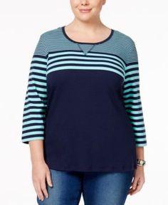 Karen Scott Plus Size Striped Top, Only at Macy's - Blue 0X